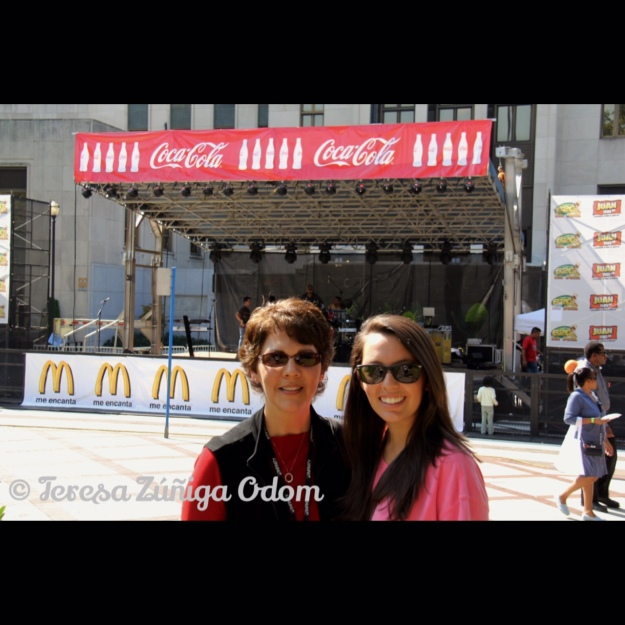Fiesta 2010 - in front of the Coca-Cola/McDonalds Main Stage with my daughter, Anna Marie.