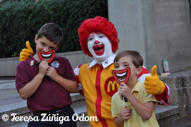 Ronald has fun with Nicky and Vincent Koch in between Fox 6 News segments.