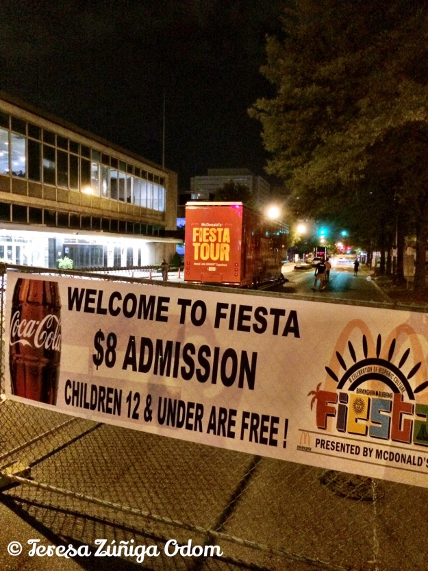 A look at some of the Fiesta signage and the FiestaTour in the background in front of Boutwell Auditorium.