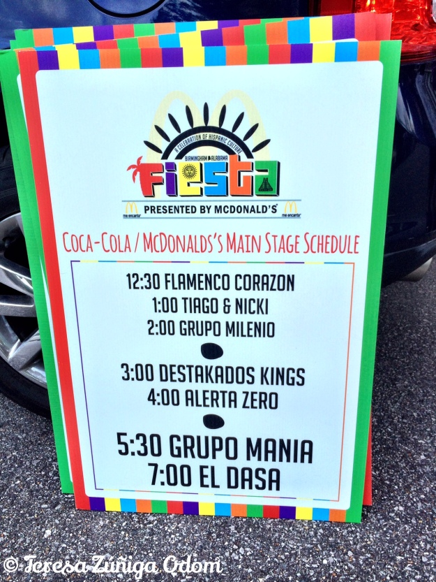 Main stage schedule of acts for Fiesta 2014.