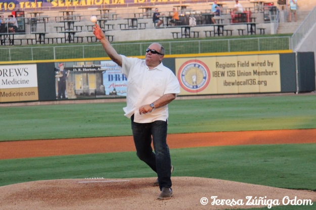 McDonald's Owner and Fiesta Title Sponsor, Santiago Negre did the honors by throwing out the first pitch at the game.