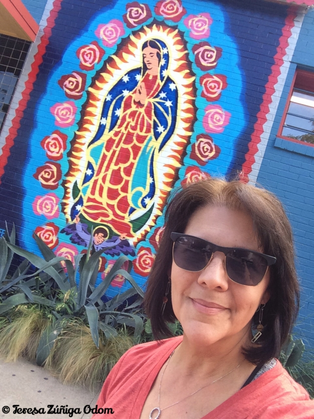 Beside Tesoros in Austin, Texas...this painting of the Virgen of Guadalupe is clearly visible from the street.