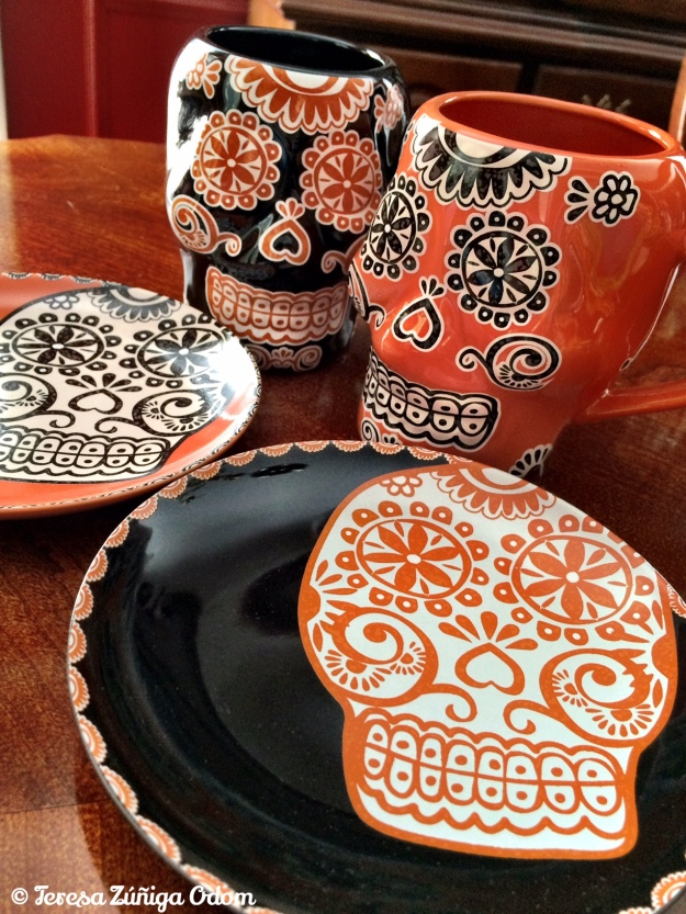 Sugar skull coffee mugs and small plates from World Market this year!