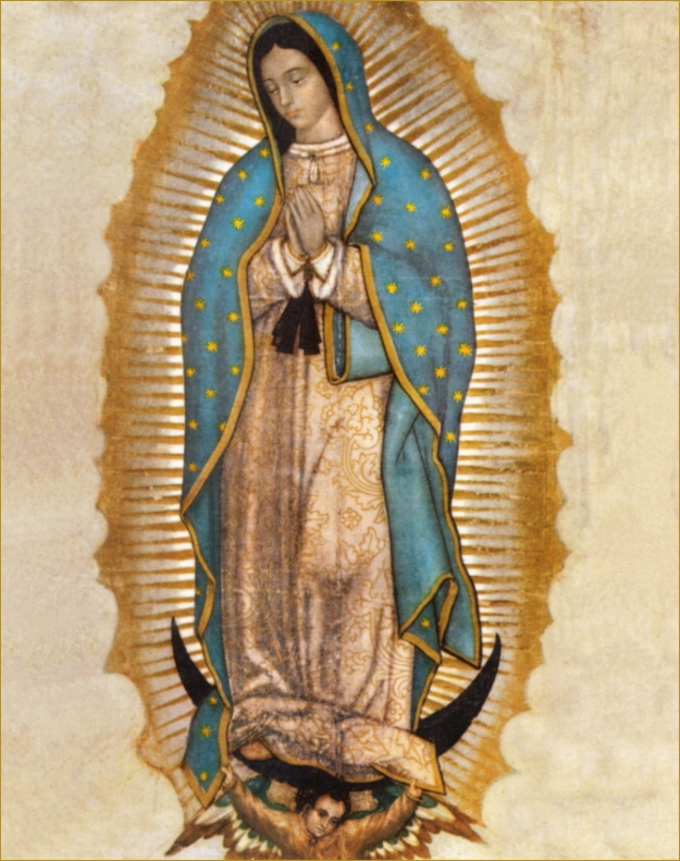 """The image of the Virgin Mary that was on the """"tilma"""" or cloak that Juan Diego wore. The actual tilma hangs at the altar at La Basilica de la Virgen de Guadalupe in Mexico City. It is over 500 years old. (photo from Catholictradition.org.)"""