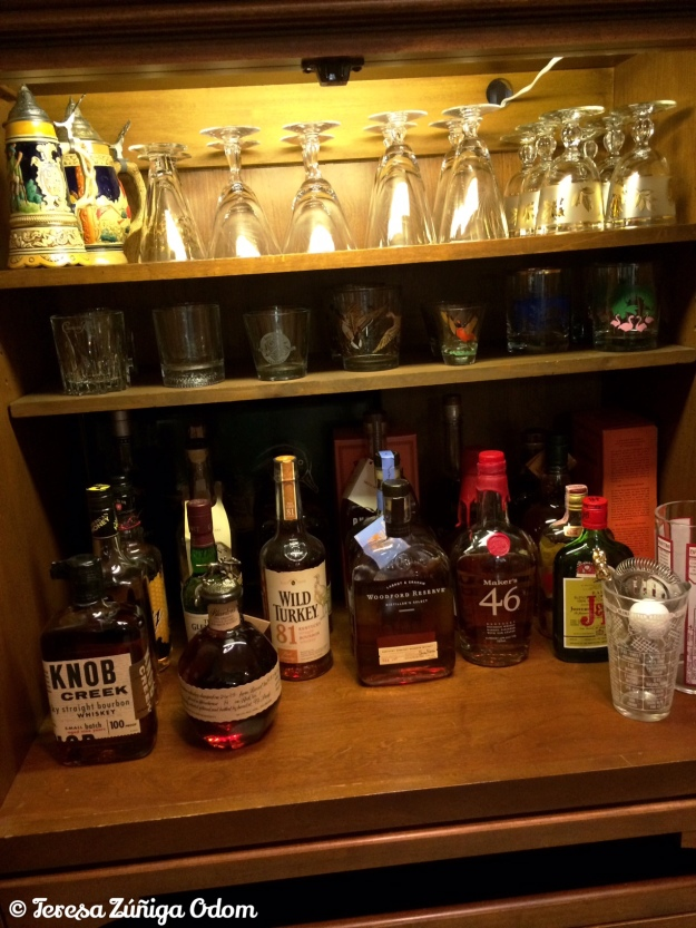 Eddie's new bourbon bar created from our old compute cabinet!
