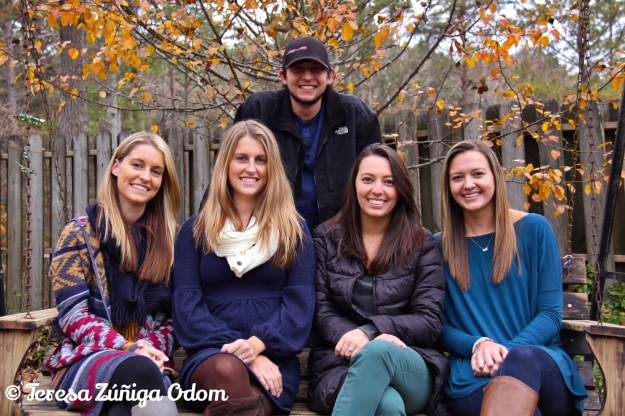 The Odom cousins in Mimi's swing - Thanksgiving 2014 - TJ, Kate, Anna Marie and Emily - Charlie always standing in the back!