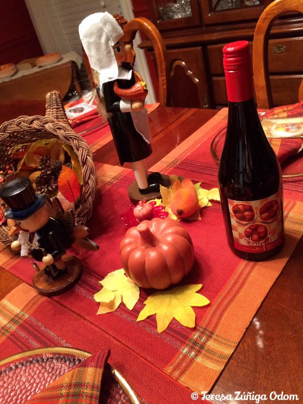 A portion of my Thanksgiving table centerpiece...I found a new wine to try tomorrow too - Cherry Tart Pinot Noir!