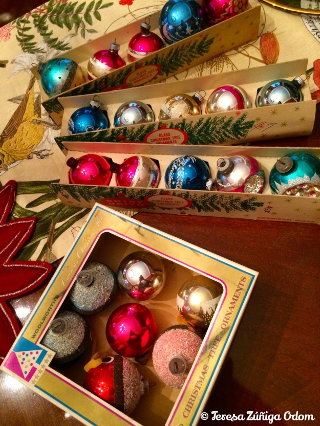Ornaments from my mother in their original boxes - I like to decorate with these each year by simply placing them in crystal/glass bowls.
