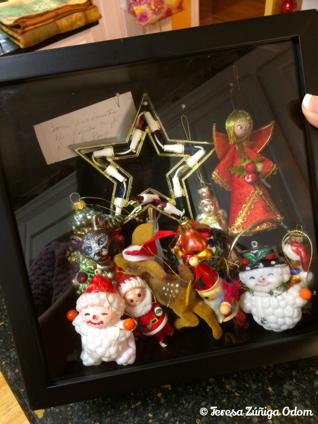 Ornaments that my mother-in-law - Johnnie Odom - used on her tree.  These were about to be discarded but I couldn't let that happen.  Included in the box is a handwritten note about these ornaments to her 5 granddaughters...