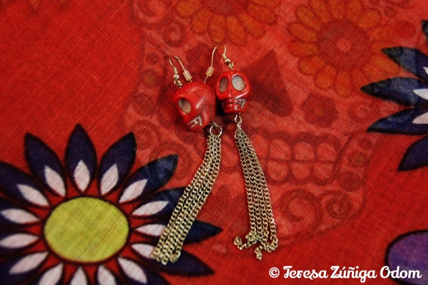 Day of the Dead sugar skull red earrings found at Charming Charlie - they had red ribbons on them but I took those off!