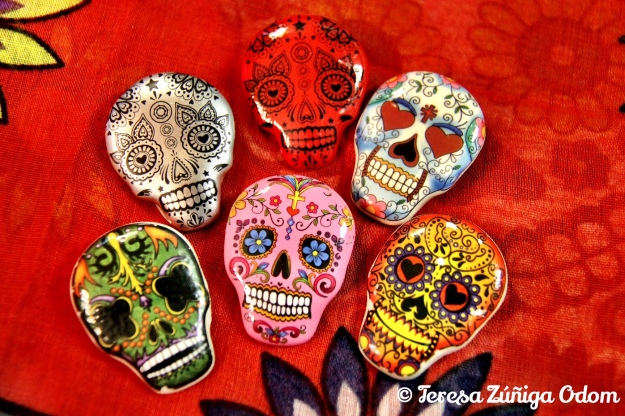 Sugar Skull (calavera) pins found at Earthbound Trading Company store at Brookwood Mall a few years ago.