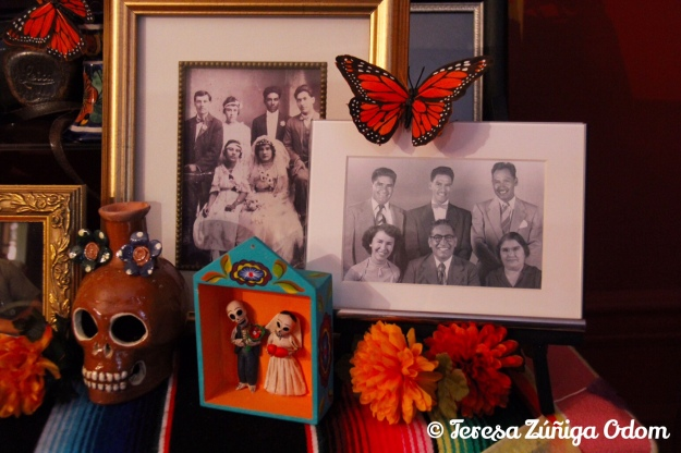 Zuniga family photos - my dad, his siblings and parents (front photo) and my grandparents Zuniga on their wedding day (photo on left).
