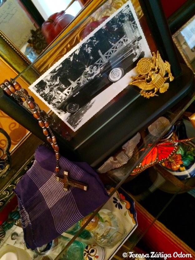 My dad, Praxedis Sotelo Zuniga, in his T-bird.  Photo taken in Bangkok, Thailand.  His handkerchief, rosary and Air Force pin.