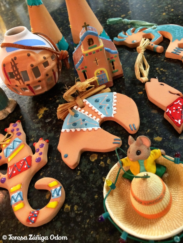 Grab bag of ornaments from New Mexico - plus one Hallmark ornament from the thrift store!