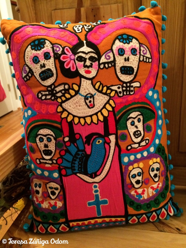 First DOD pillow purchase from Earthbound Trading Company at Brookwood Mall. Frida Kahlo surrounded by sugar skulls.