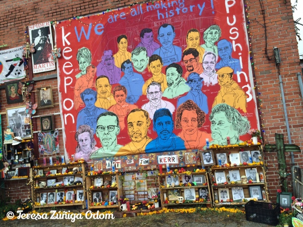 Mural by artist Tim Kerr honored the Foot Soldiers of the Civil Rights era.  Dia de los Muertos Birmingham 2015