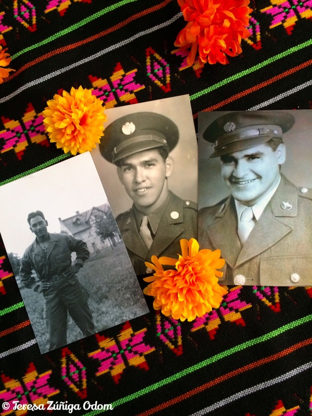 Photos of my dad (center) and his two brothers - Lorenzo and Felix - from my Day of the Dead altar.