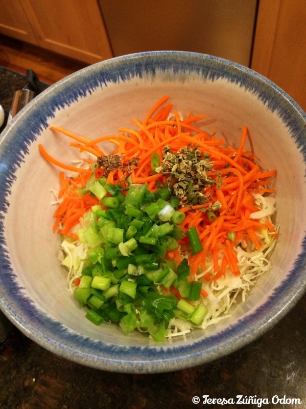 Lori Sour's spicy cole slaw before it all got mixed together...