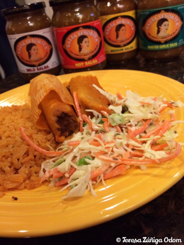HICA tamales with a side of Salsa Senorita spicy cole slaw!