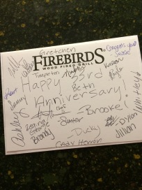 The entire staff at Firebirds signed our card!