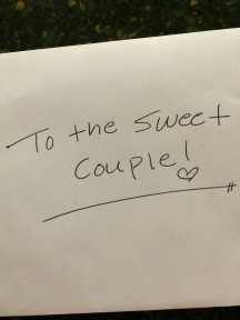 """Card from our server at Firebirds two years ago as we celebrated our 33rd """"first"""" anniversary."""