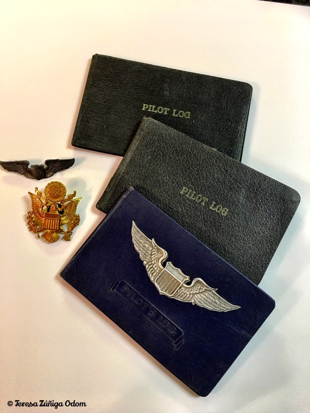 Dad's Air Force pins an his pilot log books.