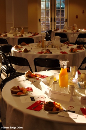 Early morning photo of the tables at the 2010 breakfast.