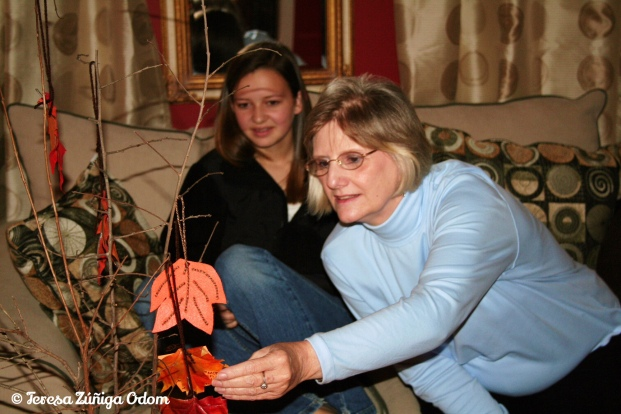 My Aunt Gail with my daughter Emily - the first year we had a Thankful tree made from reall tree branches.