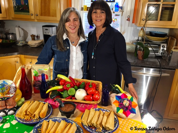 Me and Isabel Rubio after filming our tamale sale video this year in he kitchen.