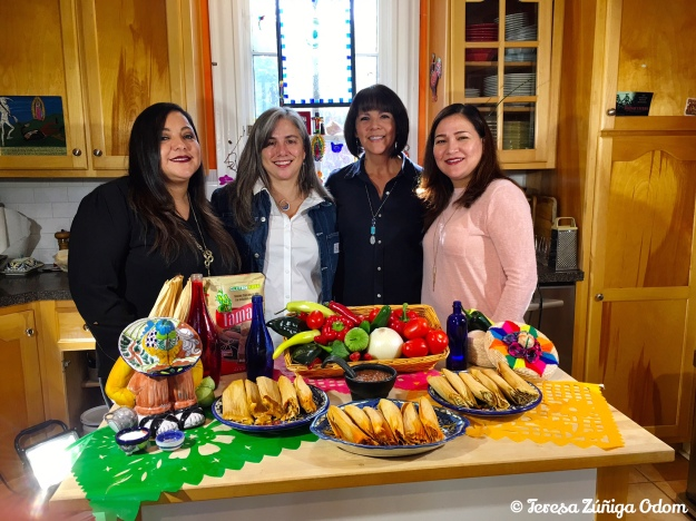 Cindy Garcia, Isabel Rubio, me and Monica Black after the tamale videos wrapped up - thanks to Latino News for filming!