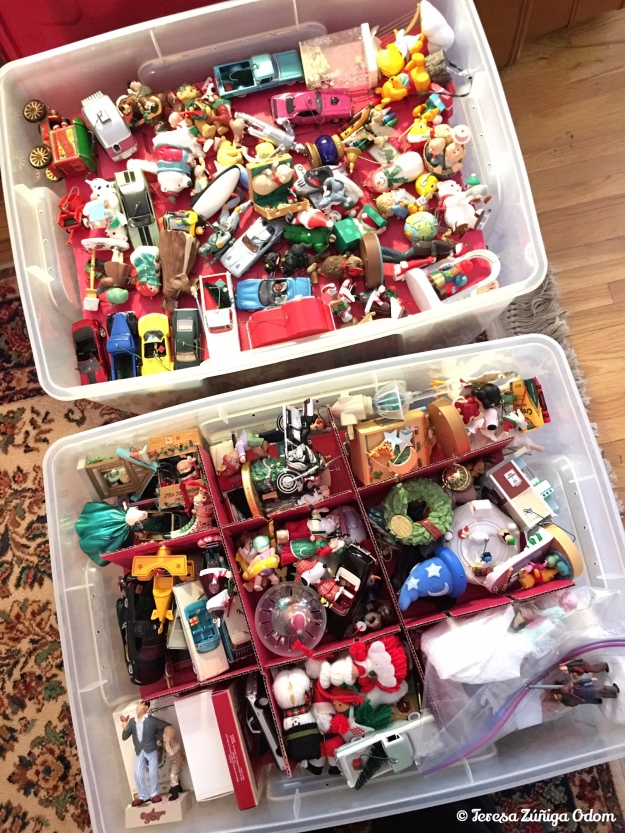 Our ginormous collection of Hallmark ornaments in these two huge storage containers.  I used to put them back into their individual boxes for many years but it got too tedious so I just keep the boxes in the attic now.