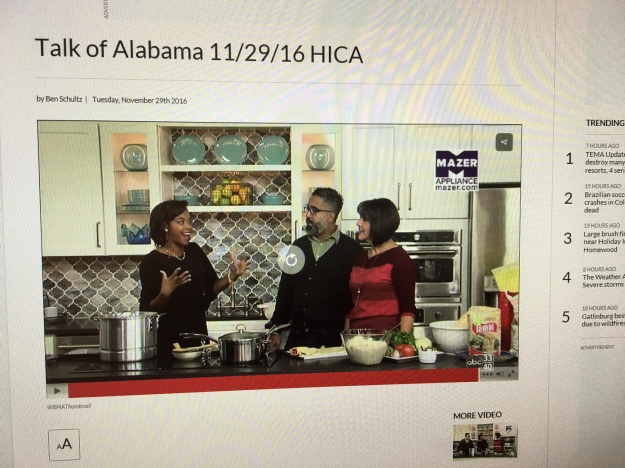 A photo from the ABC 33/40 Talk of Alabama website showing the first of 3 videos from the show today.