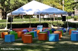 Storytelling Village set up for Antonio's performances