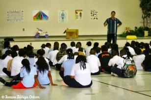 Antonio performs at Glen Iris school