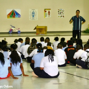 Antonio performs at Glen Iris school