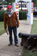 Ceasar Marfil prepares the Mexico booth in the Cultural Village and added this cannon!