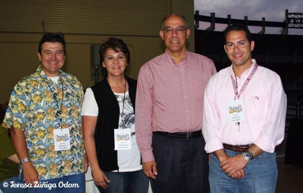 Members of the Fiesta board pose with Mayor Tony Petelos - (left to right) Phil Sandoval, Teresa Zuniga Odom, Mayor Tony Petelos and Freddy Rubio