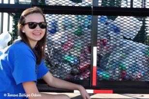 Emily with the recyling haul the day after the event.