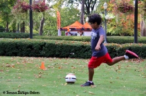 Kids love our soccer games in the Family Village!