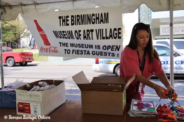 My daughter Anna Marie got the Birmingham Museum of Art booth set up with children's activities.