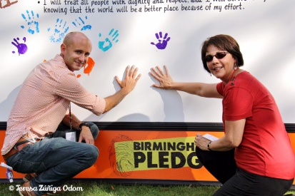 Making a mark on The Birmingham Pledge with Fiesta Board member, Matt Ennis!