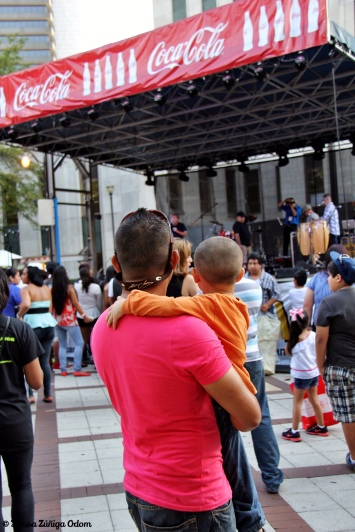 Dad and son at the music stage