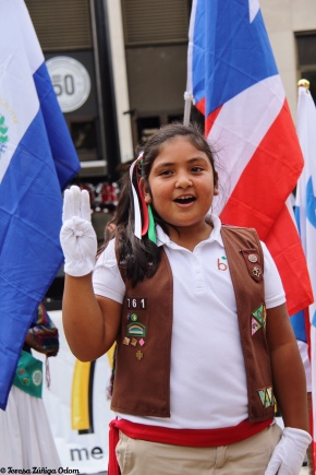 Girl Scout promise at the Coca cola main stage at Fiesta 2014