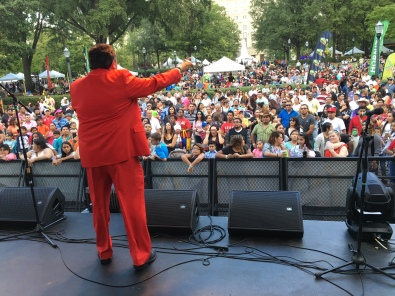 Mexican Comedian Huicho Dominguez performs for the crowd.