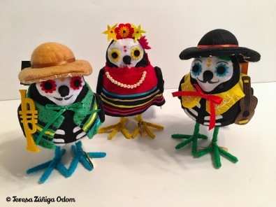 Three little sugar skull birds from Target