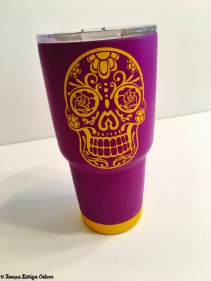 The sugar skull mug my cousin made for me!