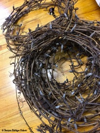 The original vine wreaths with lights I used over the kitchen cabinets