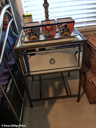 Mirrored end table - brand new - perfect for my She Shack and found at the thrift!