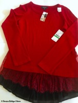 Red Karen Kane sweater with lace trim with original tags!