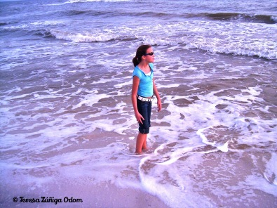 Emily in the ocean